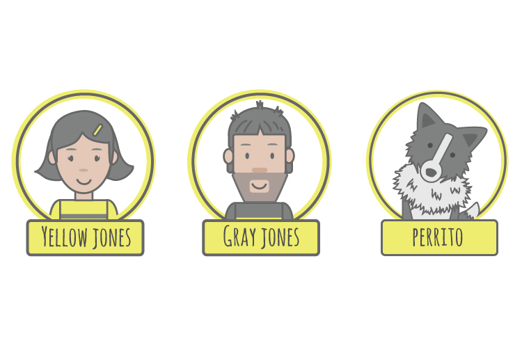 Yellow &Gray Jones y perrito.