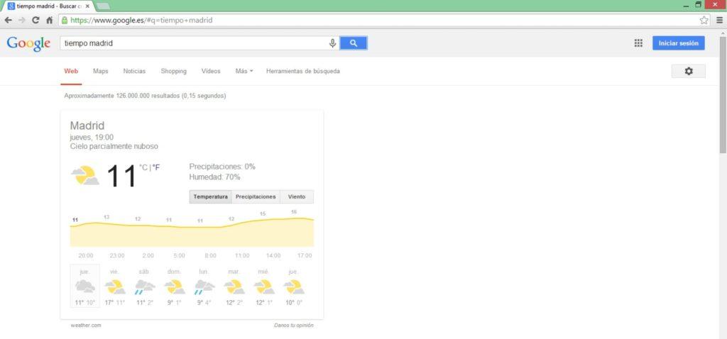 El tiempo en una ciudad - Google Tips - Bee Ingenious
